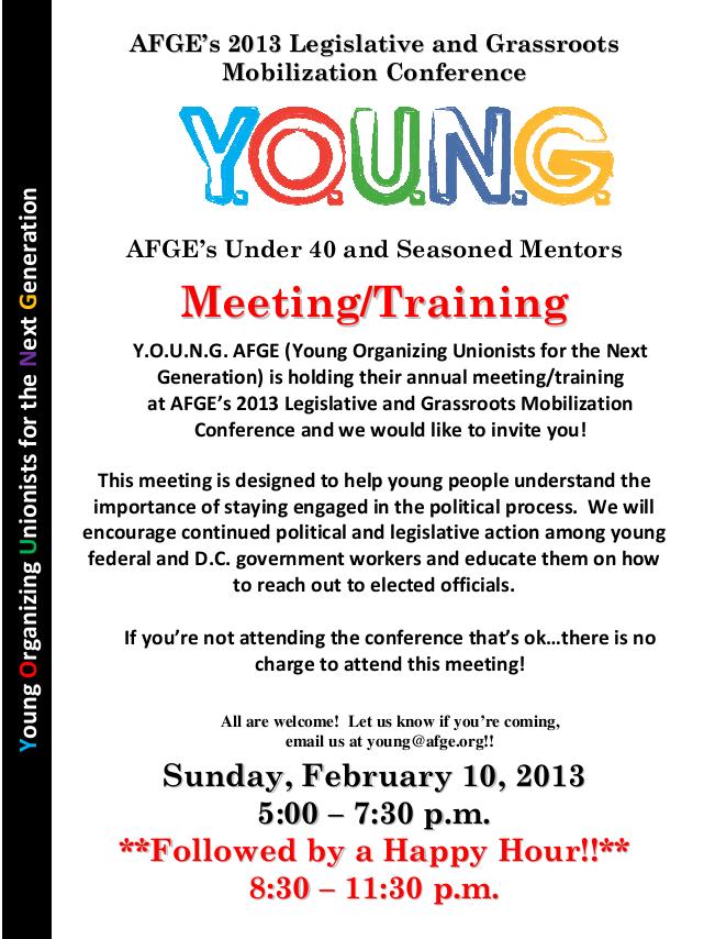 Save the Date! Annual Y O U N G  AFGE Meeting/Training