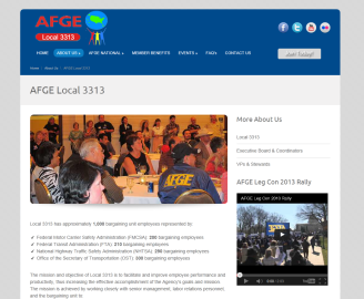 A glimpse of Local 3313's new website design. Visit http://www.afgelocal3313.org/ to see more.