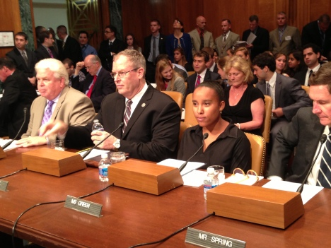 AFGE member Jennifer Cari-Green testifies about the impact of furloughs at the Senate Budget Committee hearing.